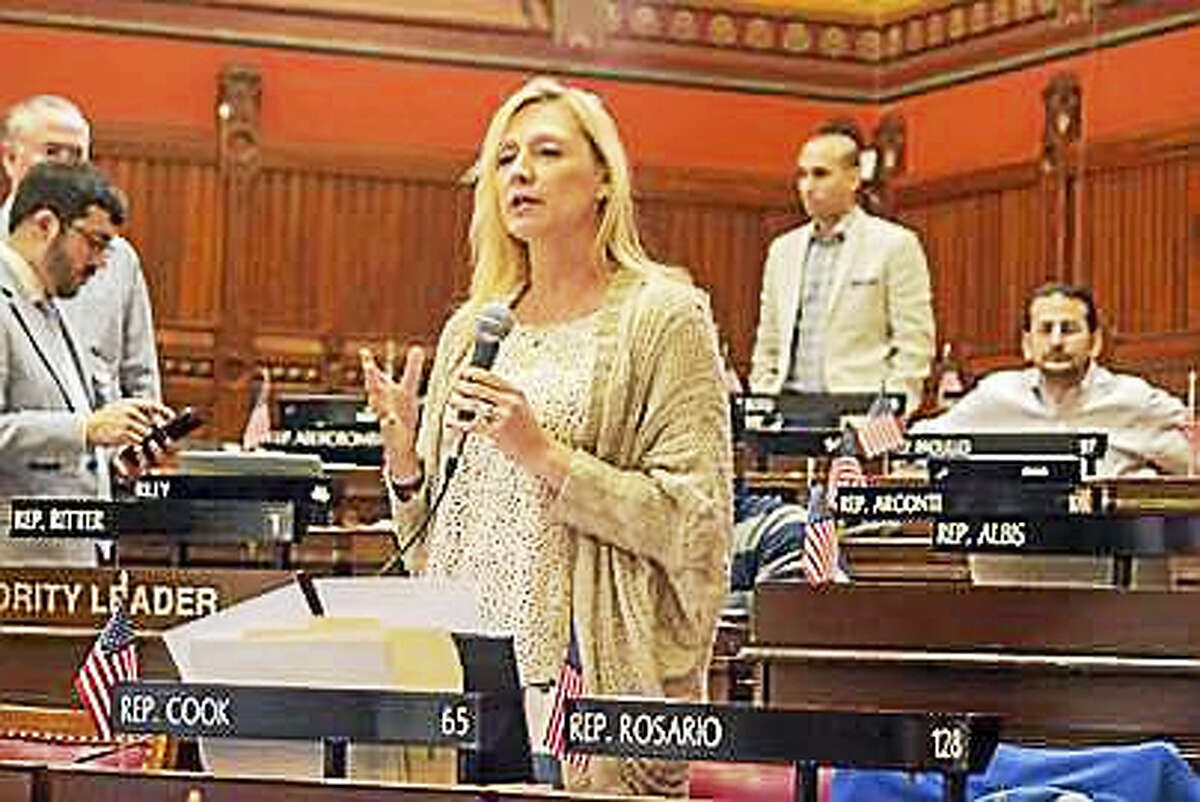 State Rep. Michelle Cook, D-Torrington, introduces the bill on sober houses on the House floor.