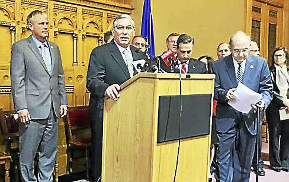 Senate Republican President Len Fasano and Senate President Martin Looney support the proposal. Photo: Jack Kramer — CTNewsJunkie