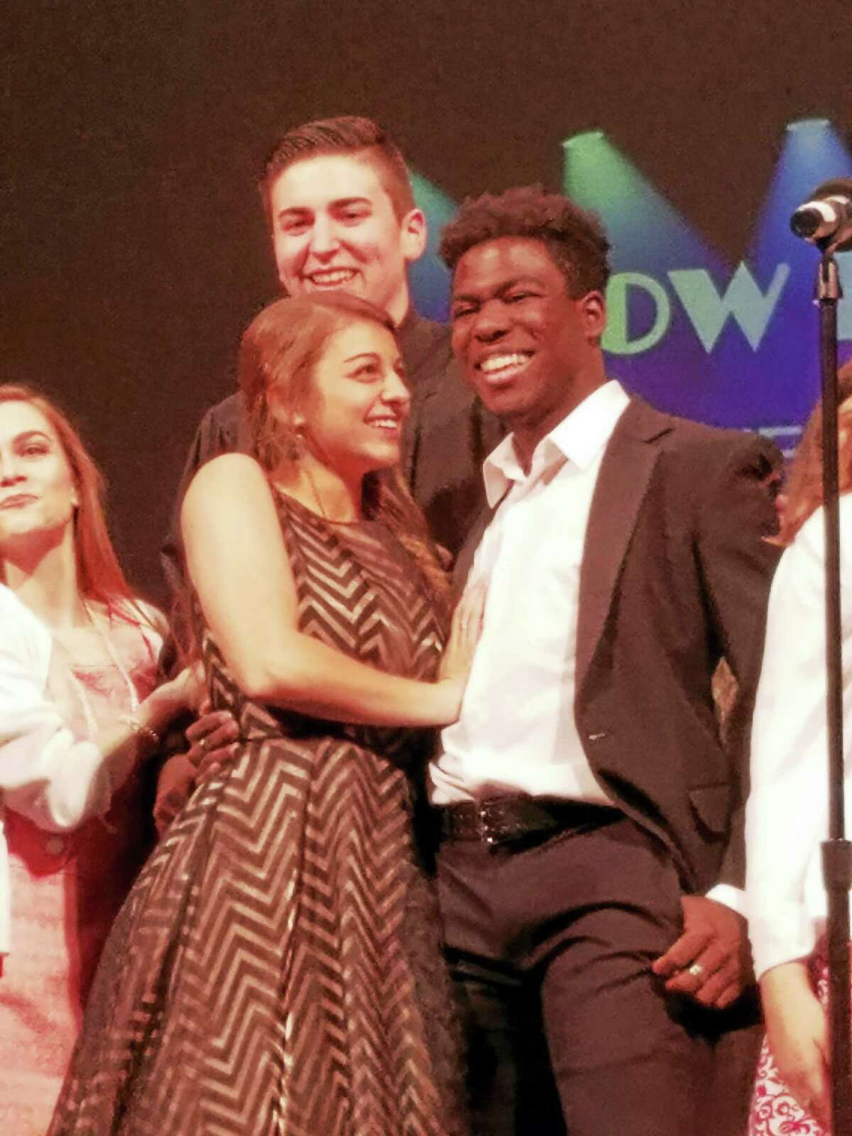 """Torrington High School students Ali Bottari and Will Wilson held the roles of Ariel and Ren in the school's production of """"Footloose."""" Wilson received an award for his role in the show."""