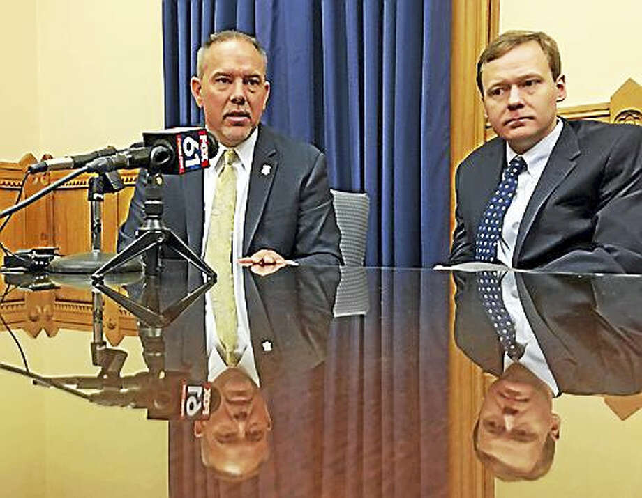 House Speaker Joe Aresimowicz and House Majority Leader Matt Ritter discuss their legislative priorities. Photo: CTNews Junkie Photo