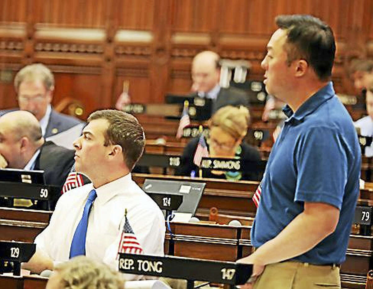Rep. William Tong, D-Stamford, right, and Rep. Steve Stafstrom, D-Bridgeport.
