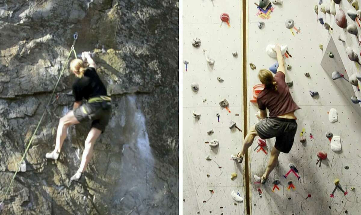 In this combo of images from video provided by Dartmouth College, a climber ascends an outdoor rock face, left, on Dec. 12, 2015 in Rumney, N.H., and another climber ascends a replica indoor climbing wall, right, on Jan. 16, 2016 in Hanover, N.H. Using three-dimensional geometry, the three-dimensional replica of the rock wall was created by tracking a climber's hand and foot positions and by estimating the contact forces.