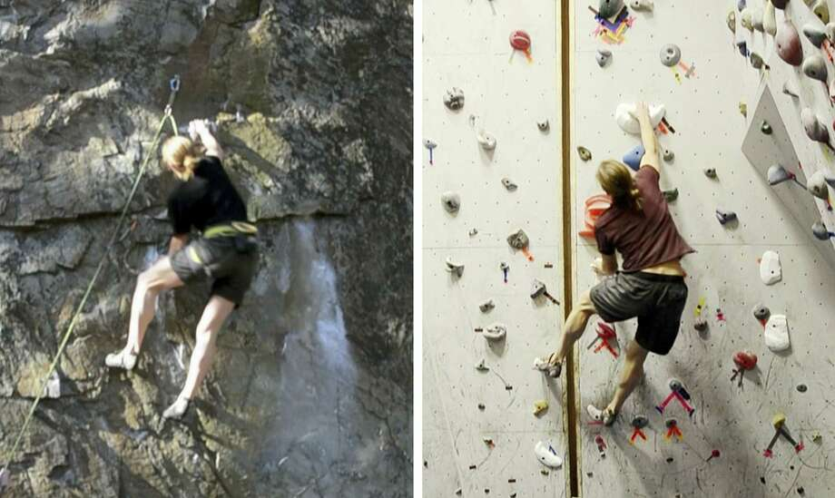 In this combo of images from video provided by Dartmouth College, a climber ascends an outdoor rock face, left, on Dec. 12, 2015 in Rumney, N.H., and another climber ascends a replica indoor climbing wall, right, on Jan. 16, 2016 in Hanover, N.H. Using three-dimensional geometry, the three-dimensional replica of the rock wall was created by tracking a climber's hand and foot positions and by estimating the contact forces. Photo: Christos Mousas — Dartmouth College Via AP  / Dartmouth College