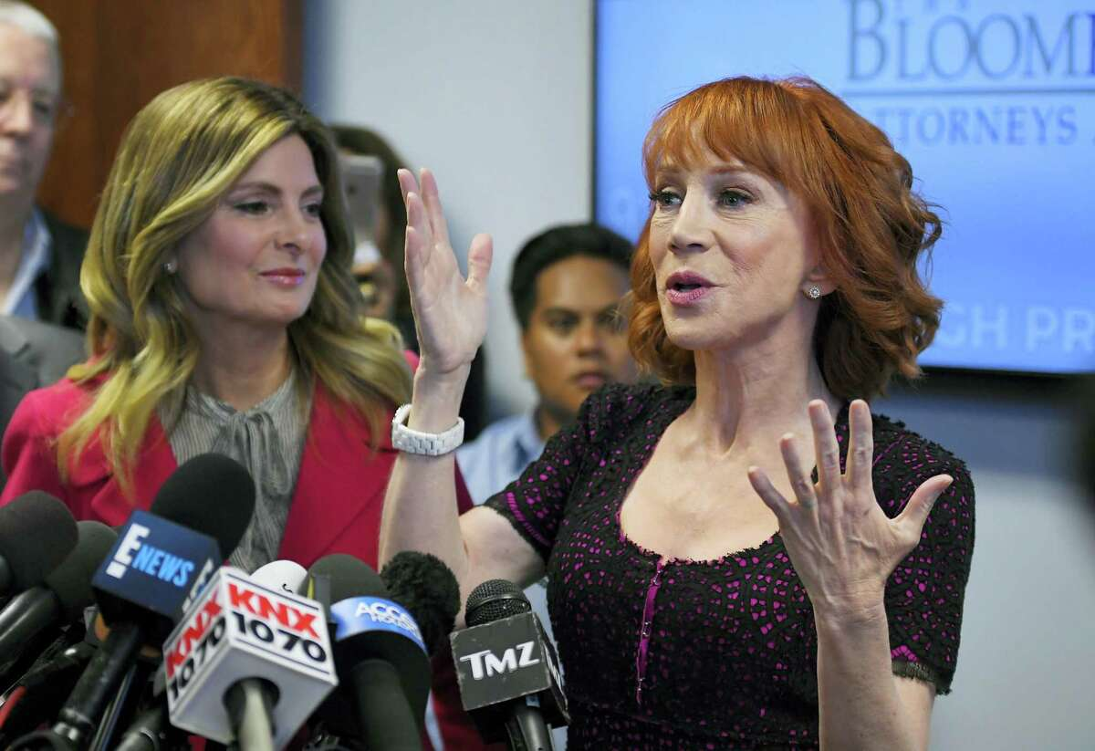Comedian Kathy Griffin speaks along with her attorney, Lisa Bloom, during a news conference, Friday, June 2, 2017, in Los Angeles to discuss the backlash since Griffin released a photo and video of herself displaying a likeness of President Donald Trump's bloody, severed head.