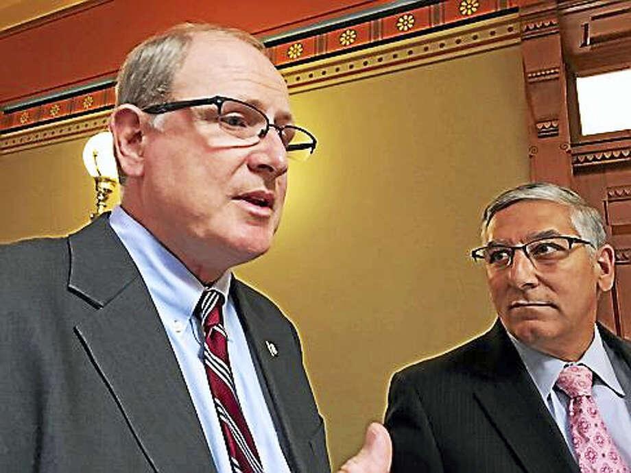 Sen. Kevin Kelly and Senate Republican President Len Fasano Photo: Christine Stuart — Ctnewsjunkie