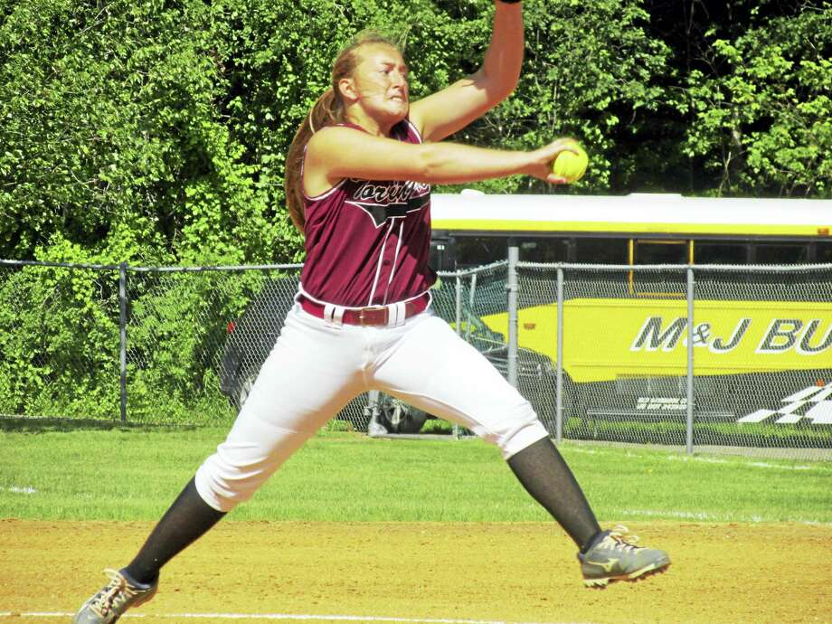 Pitcher Ali DuBois brought her best stuff in Torrington's Class L state quarterfinal win over North Haven Friday afternoon at Torrington High School. Photo: Photo By Peter Wallace