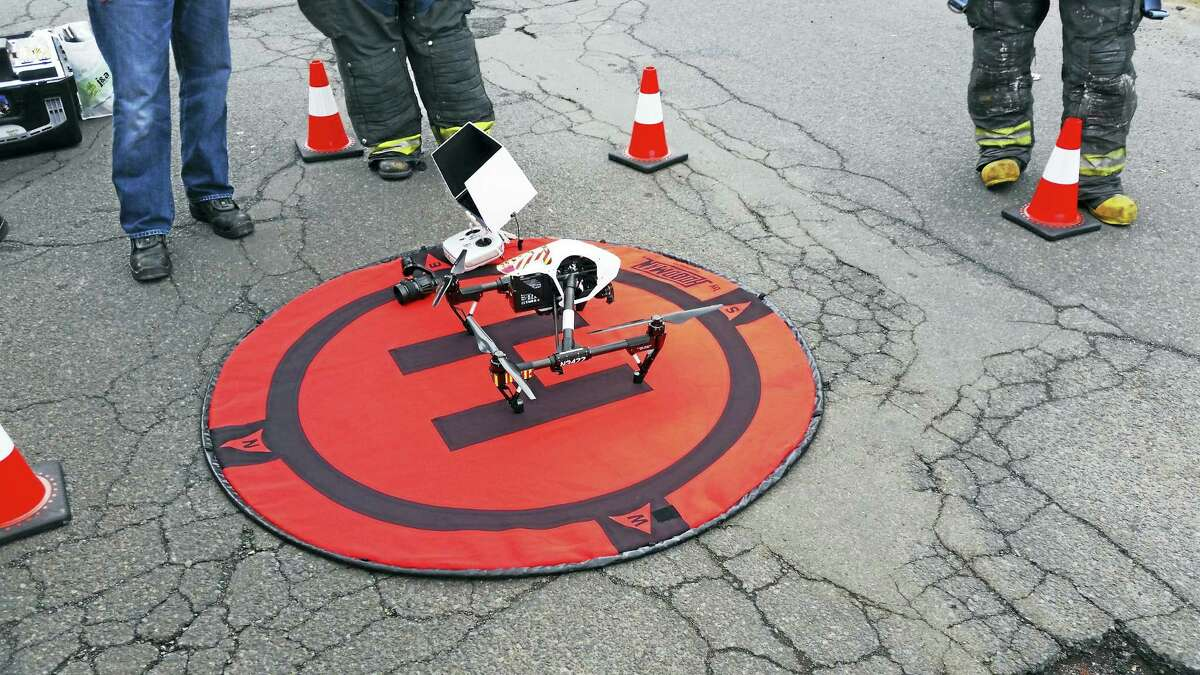 Police use a drone in an investigation in New Haven.