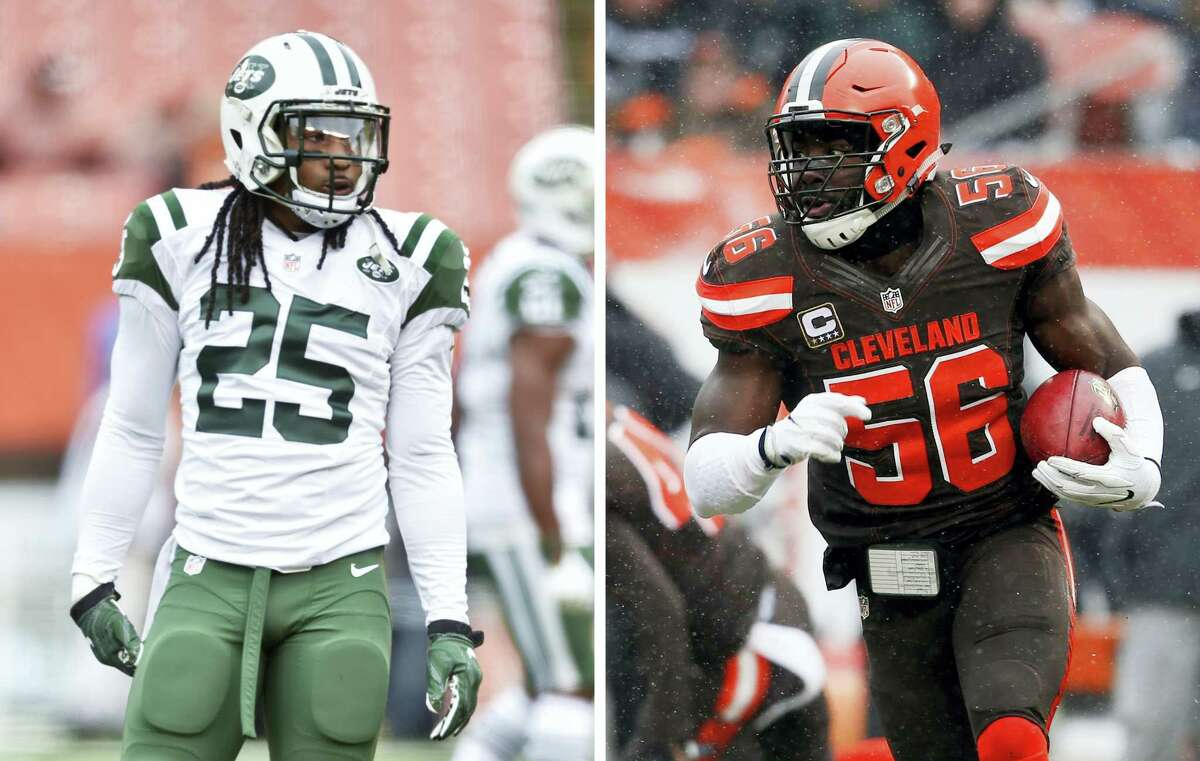 Jets strong safety Calvin Pryor, left, was traded to the Browns for Browns inside linebacker Demario Davis, right.
