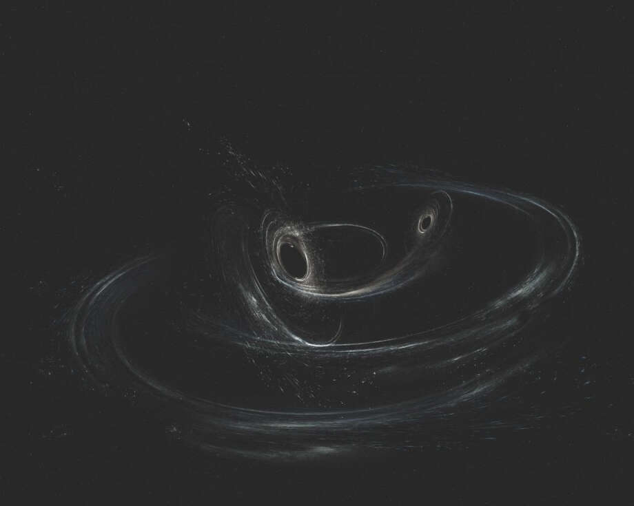 An illustration of two merging black holes, similar to those detected by LIGO. (Aurore Simonnet, LIGO, Caltech, MIT, Sonoma State) Photo: Aurore Simonnet, LIGO, Caltech, MIT, Sonoma State / Aurore Simonnet, LIGO, Caltech, MIT, Sonoma State