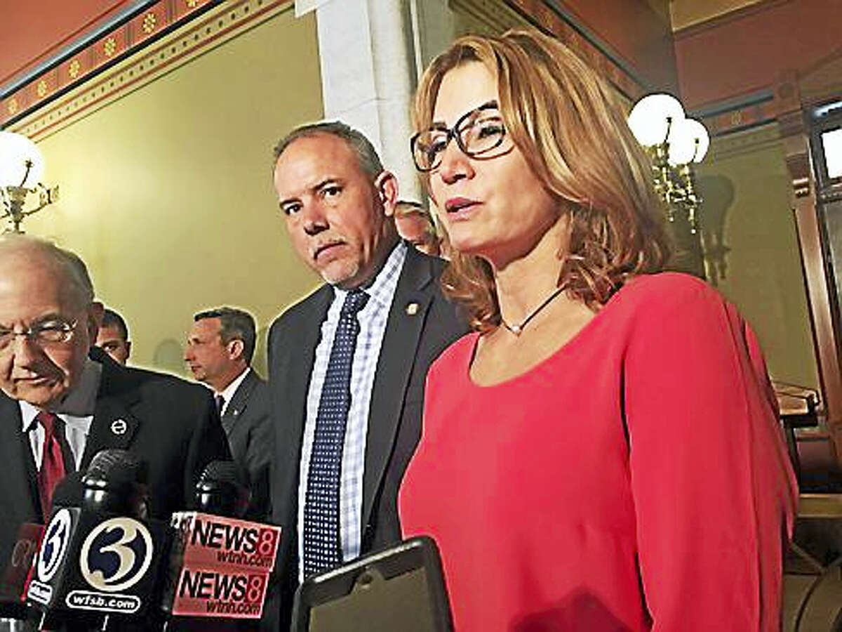 House Minority Leader Themis Klarides, House Speaker Joe Aresimowicz and Senate President Martin Looney outside Malloy's Capitol office