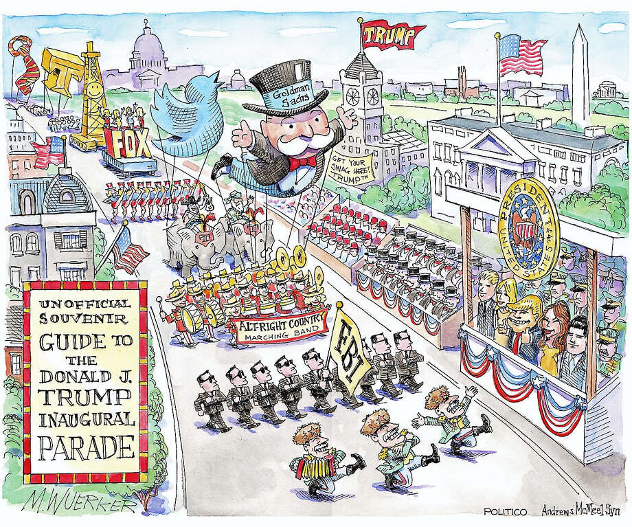 Political cartoons by Matt Wuerker, who works for Politico, are the focus of a program at the American Museum of Tort Law in Winsted on Saturday starting at 11 a.m. Photo: Photos Courtesy Of Matt Wuerker