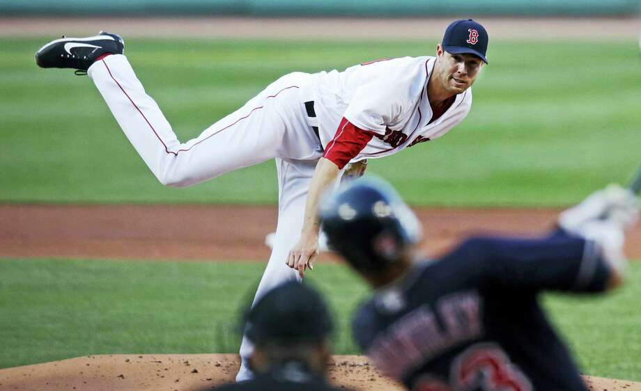 Red Sox starting pitcher Doug Fister delivers in the first inning on Monday. Photo: Charles Krupa — The Associated Press  / Copyright 2017 The Associated Press. All rights reserved.