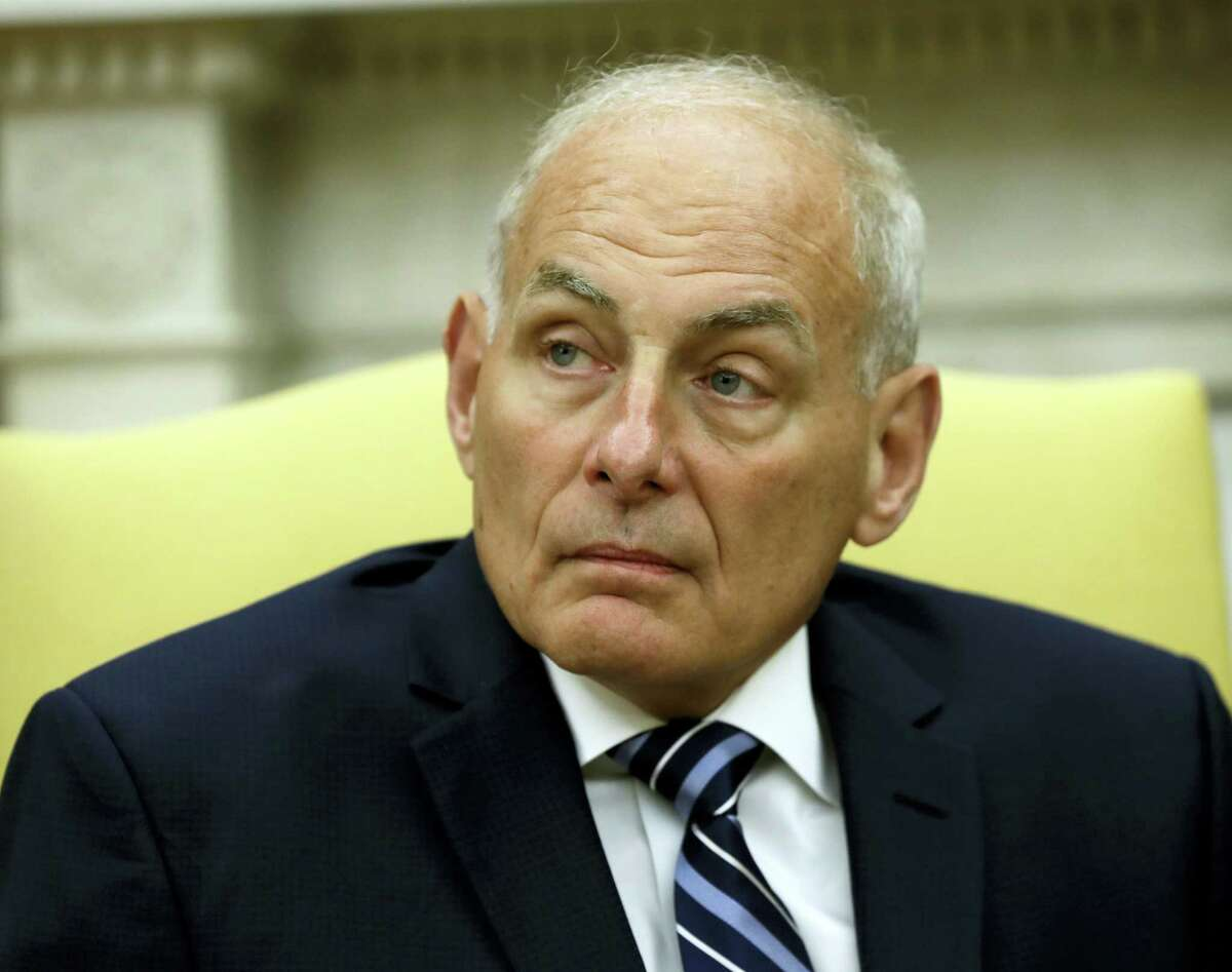 New White House Chief of Staff John Kelly after being privately sworn in during a ceremony in the Oval Office with President Donald Trump on July 31, 2017 in Washington.