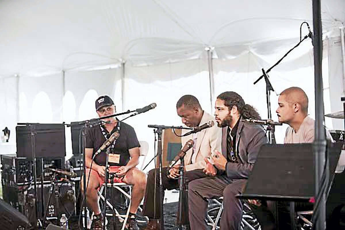 The second artist talk will be presented by saxophonist Rudresh Mahanthappa, above, second from right, Sunday at 3:30 p.m.