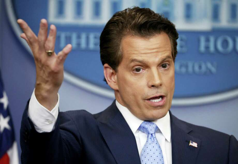 White House communications director Anthony Scaramucci gestures on July 21 as he answers a question during a press briefing in the Brady Press Briefing room of the White House in Washington. Photo: AP File Photo  / Copyright 2017 The Associated Press. All rights reserved.