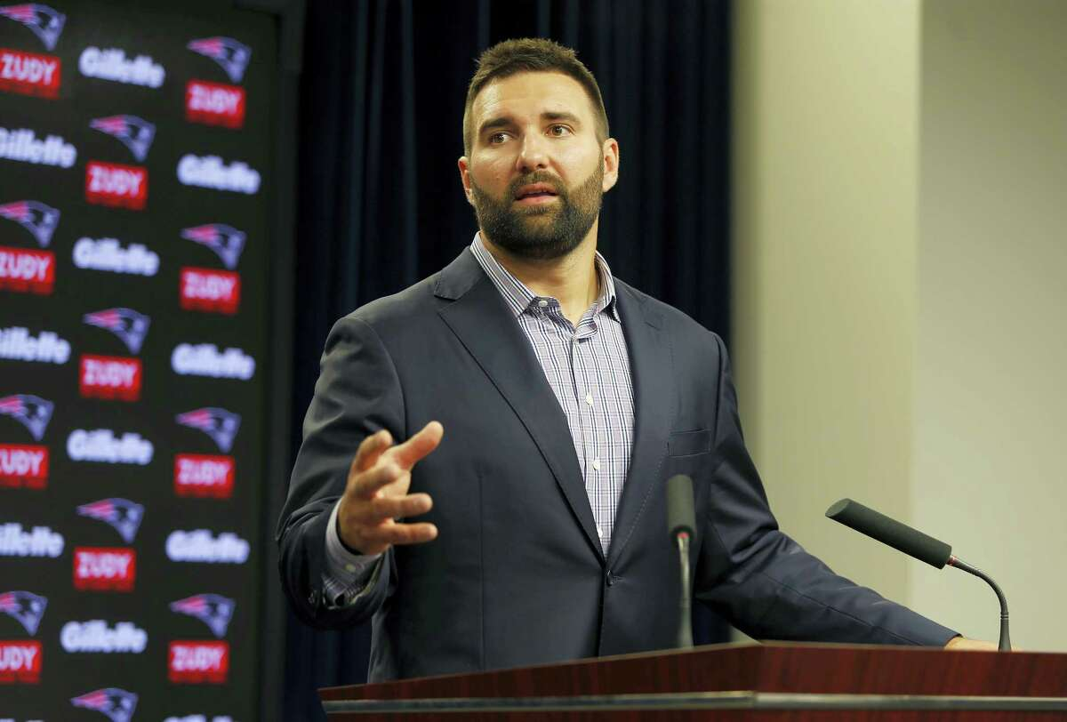 New England Patriots player Rob Ninkovich speaks to the media as he announces his retirement on July 30, 2017 at Gillette Stadium in Foxborough, Mass.