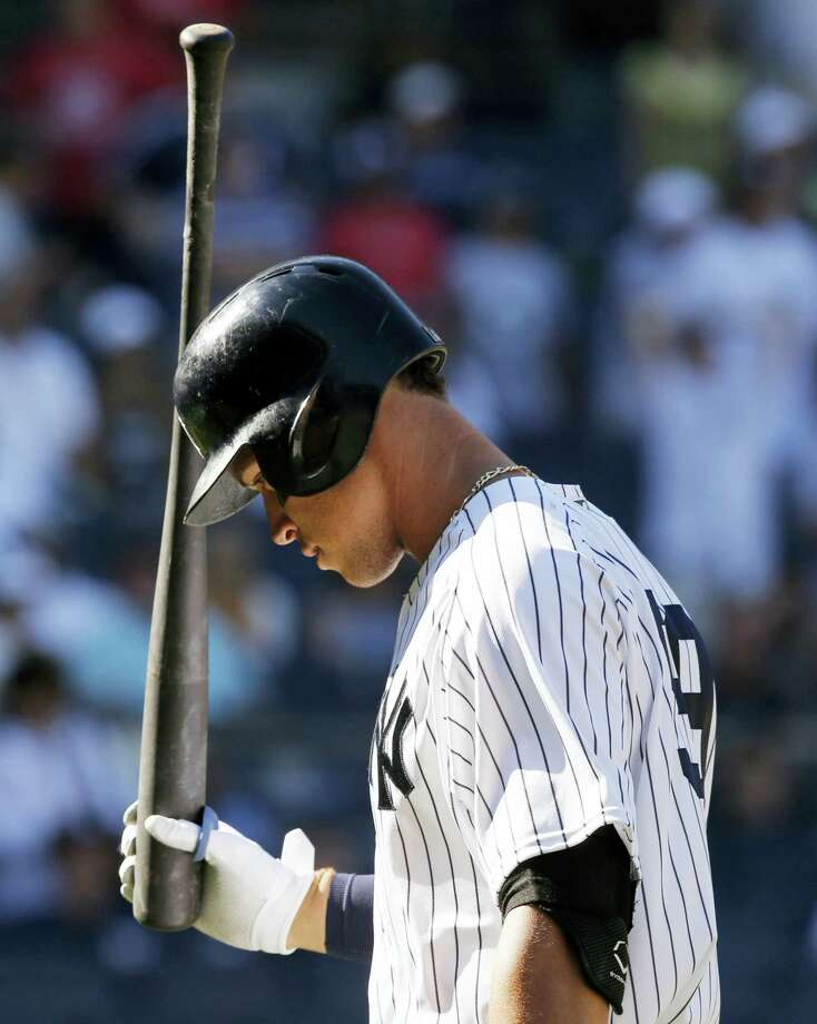 The Yankees' Aaron Judge reacts after fouling out to first in the ninth inning on Sunday. Photo: Kathy Willens — The Associated Press  / Copyright 2017 The Associated Press. All rights reserved.