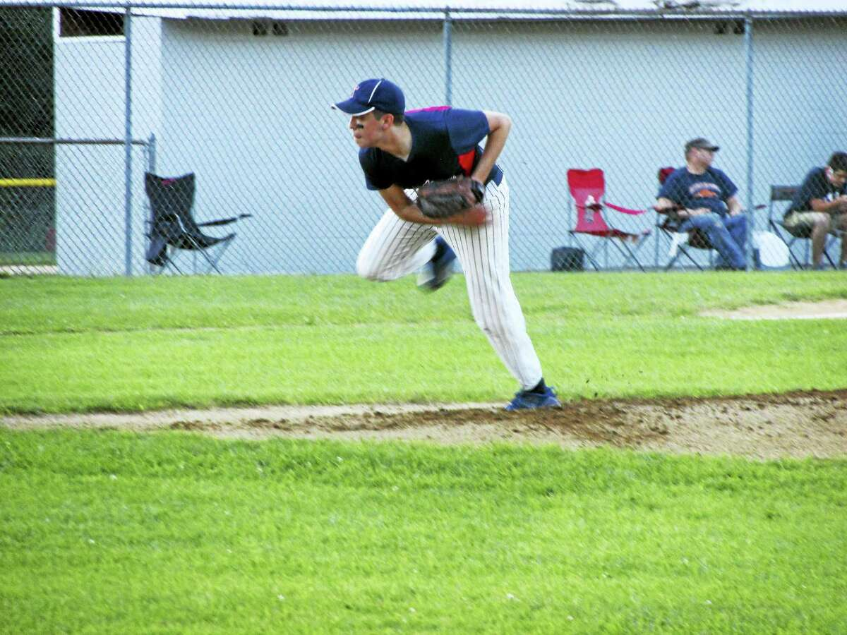 Torrington workhorse D.J. Reynolds pitched 7 1/3 innings in Torrington's Connie Mack playoff loss to Amenia on Sunday.