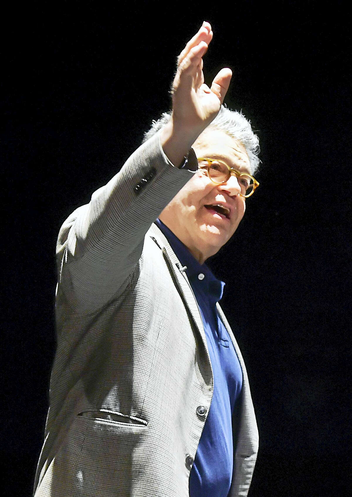 """(Peter Hvizdak - Hearst Connecticut Media) New Haven, Connecticut: July 28, 2017. U.S. Senator Al Franken of Minnesota, satirist, comedian, and author of the book """"Giant of the Senate"""" Sunday at the Shubert Theatre in New Haven during a discussion about his book with WNPR radio personality Colin McEnroe. The event was sponsored by R.J. Julia Booksellers of Madison."""