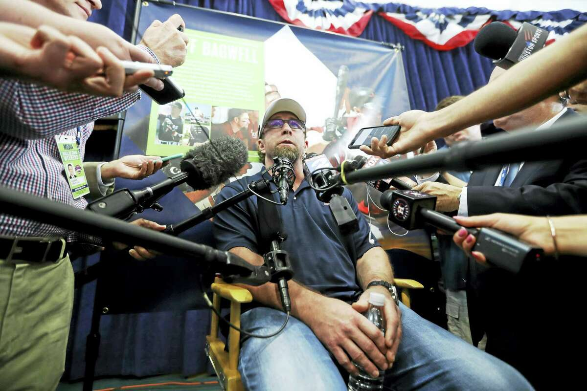 Jeff Bagwell talks to the media gaggle during his press conference in the Clark Sports Center Saturday in Cooperstown, New York.