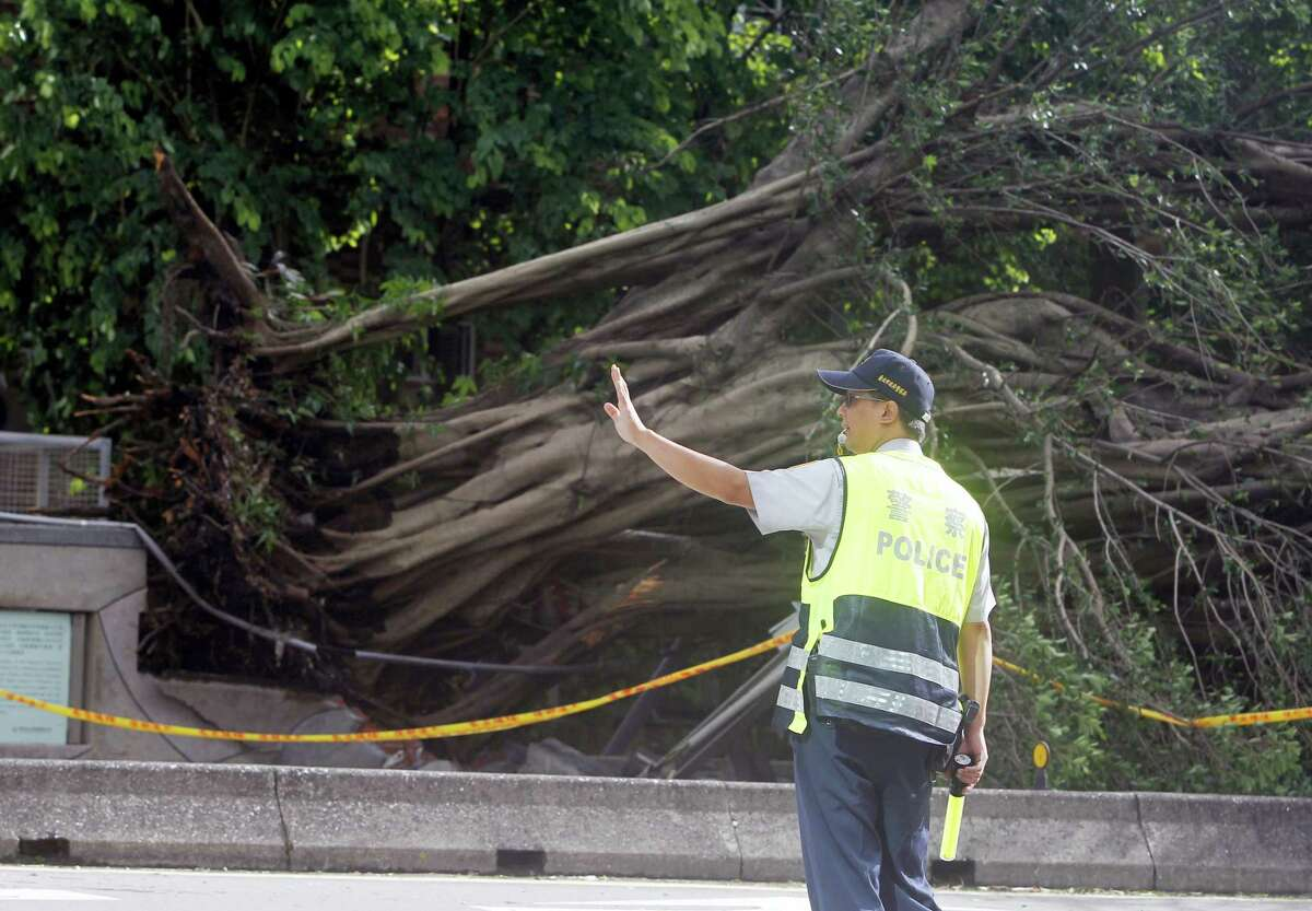 A police officer controls the traffic in front of a tree uprooted by strong winds caused by Typhoon Nesat in Taipei, Taiwan, Sunday, July 30, 2017.