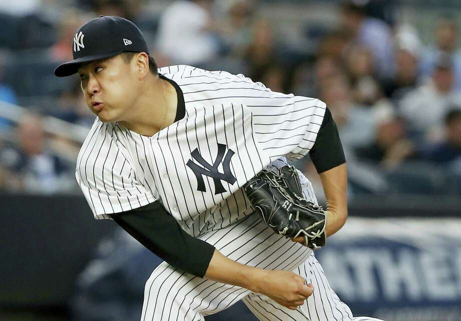 Yankees starting pitcher Masahiro Tanaka took a perfect game into the sixth inning on Friday. Photo: Julie Jacobson — The Associated Press  / Copyright 2017 The Associated Press. All rights reserved.