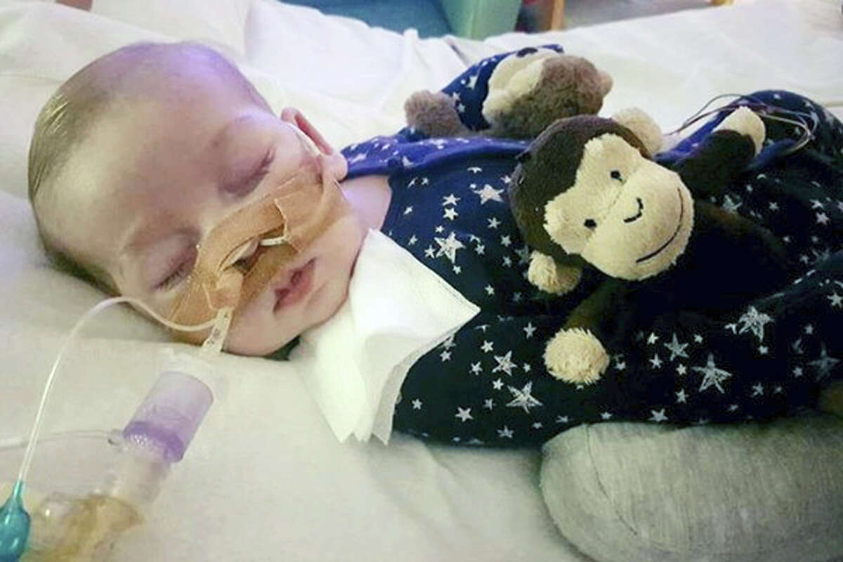 This is an undated photo of critically ill, 11-month-old Charlie Gard, provided by his family, taken at Great Ormond Street Hospital in London. British media are reporting a family announcement that 11-month-old Charlie has died Friday, July 28, 2017.