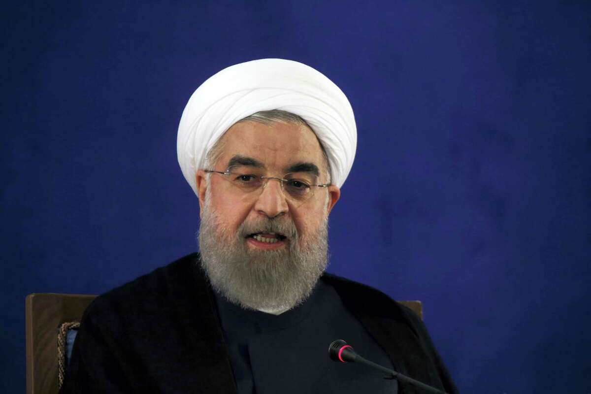 In this May 22, 2017, file photo, Iranian President Hassan Rouhani speaks at a news conference in Tehran, Iran. The Trump administration is pushing for inspections of suspicious Iranian military sites in a bid to test the strength of the nuclear deal that President Donald Trump desperately wants to cancel, senior U.S. officials said. The inspections are one element of what is designed to be a more aggressive approach to preventing Iran from obtaining a nuclear weapon.
