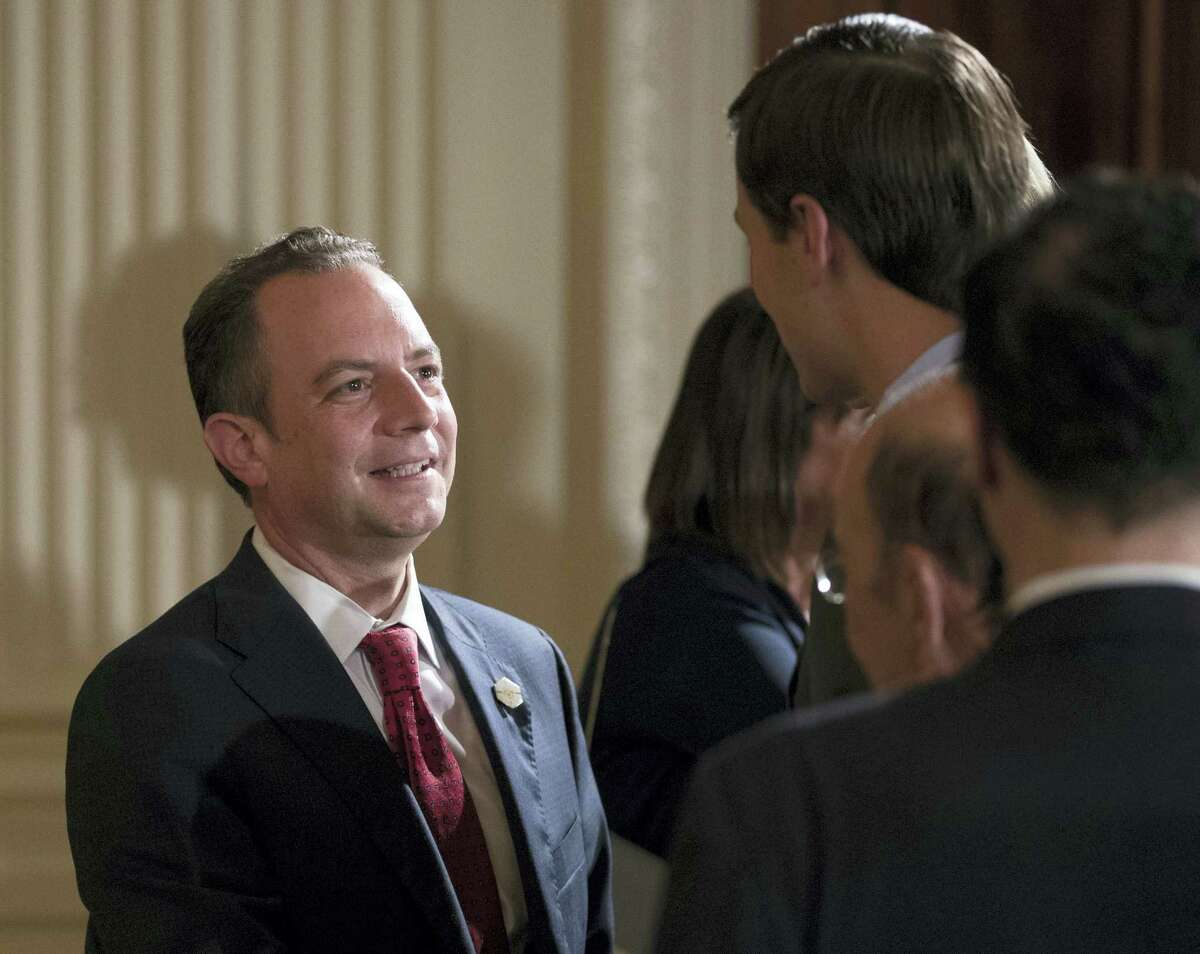 """In this July 26, 2017 file photo, White House Chief of Staff Reince Priebus talks with White House senior adviser Jared Kushner in the East Room of the White House in Washington. New White House communications director Anthony Scaramucci went after Priebus Thursday, July 27, 2017, as a suspected """"leaker"""" within the West Wing in a pull-no-punches interview that laid bare the personality clashes and internal turmoil of Donald Trump's presidency."""