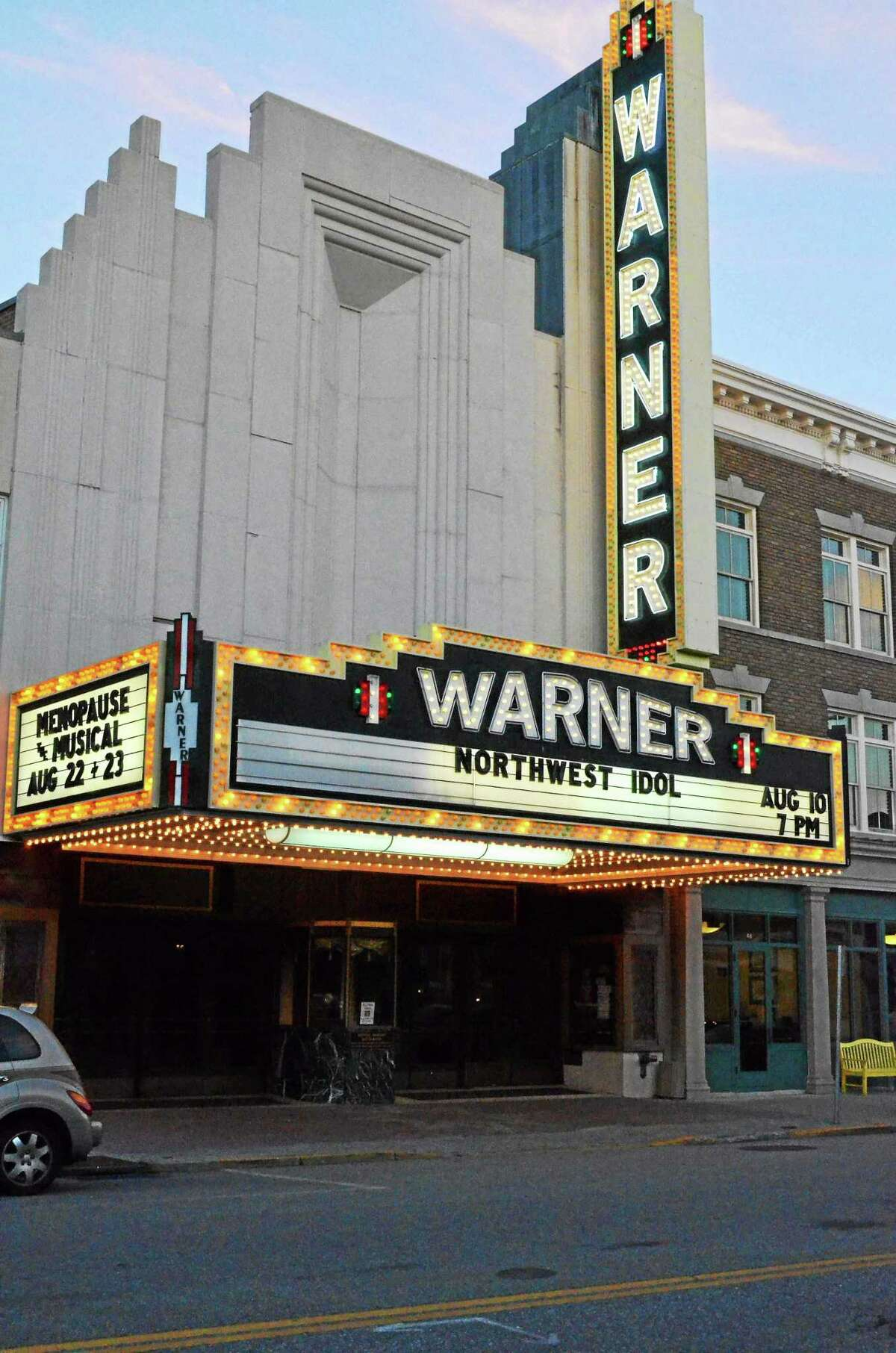 The marquee of the Warner Theatre on Main Street welcomed fans on the night of a previous Northwest Idol finals in Torrington.