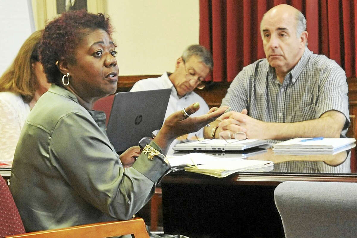 Superintendent Denise Clemons breaks down the options on the table to save money, as the Board of Education sought to address a potential city cash crunch Wednesday.