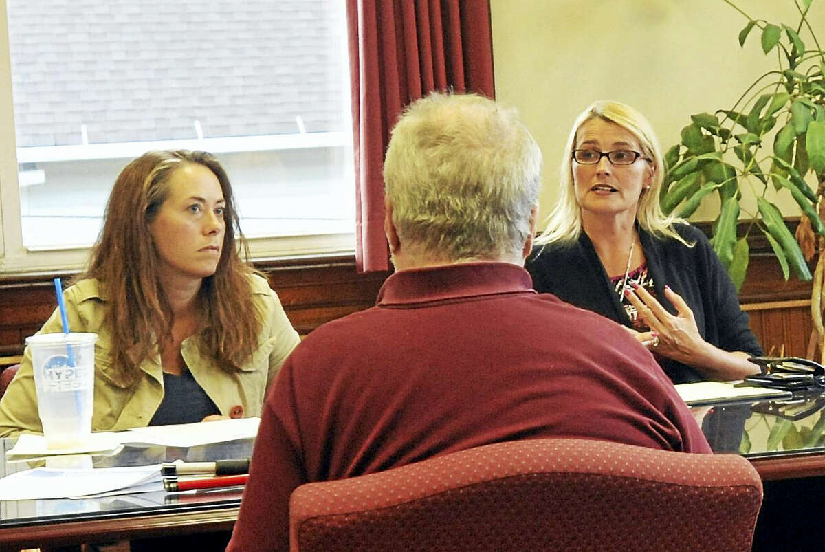 Board Chairman Fiona Cappabianca speaks Wednesday evening, as the Torrington Board of Education deals with a potential cash crunch.