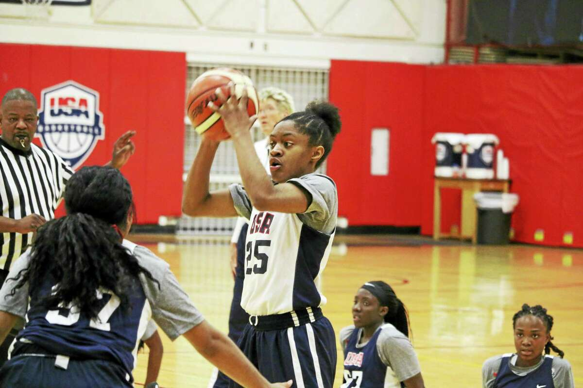 Photo courtesy of USA Basketball UConn's Crystal Dangerfield tied the tournament assist record for the United States against Italy Tuesday.