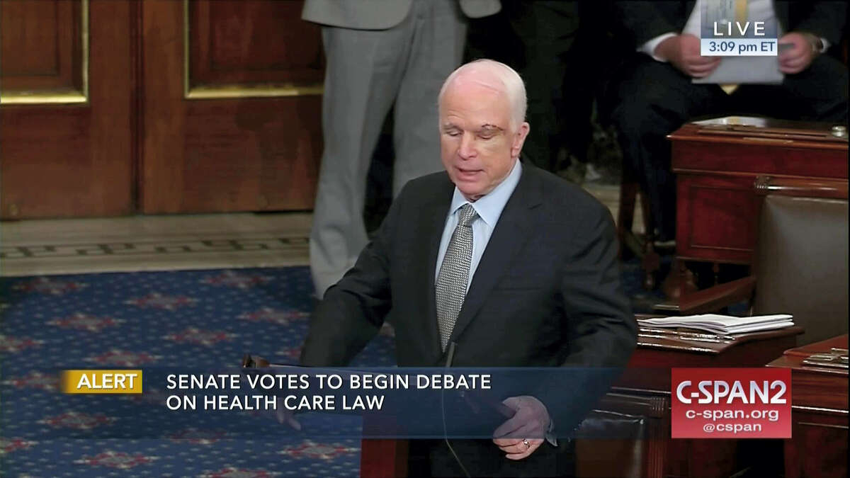 In this image from video provided by C-SPAN2, Sen. John McCain, R-Ariz. speaks on the floor of the Senate on Capitol Hill in Washington, Tuesday, July 25, 2017. McCain returned to Congress for the first time since being diagnosed with brain cancer.