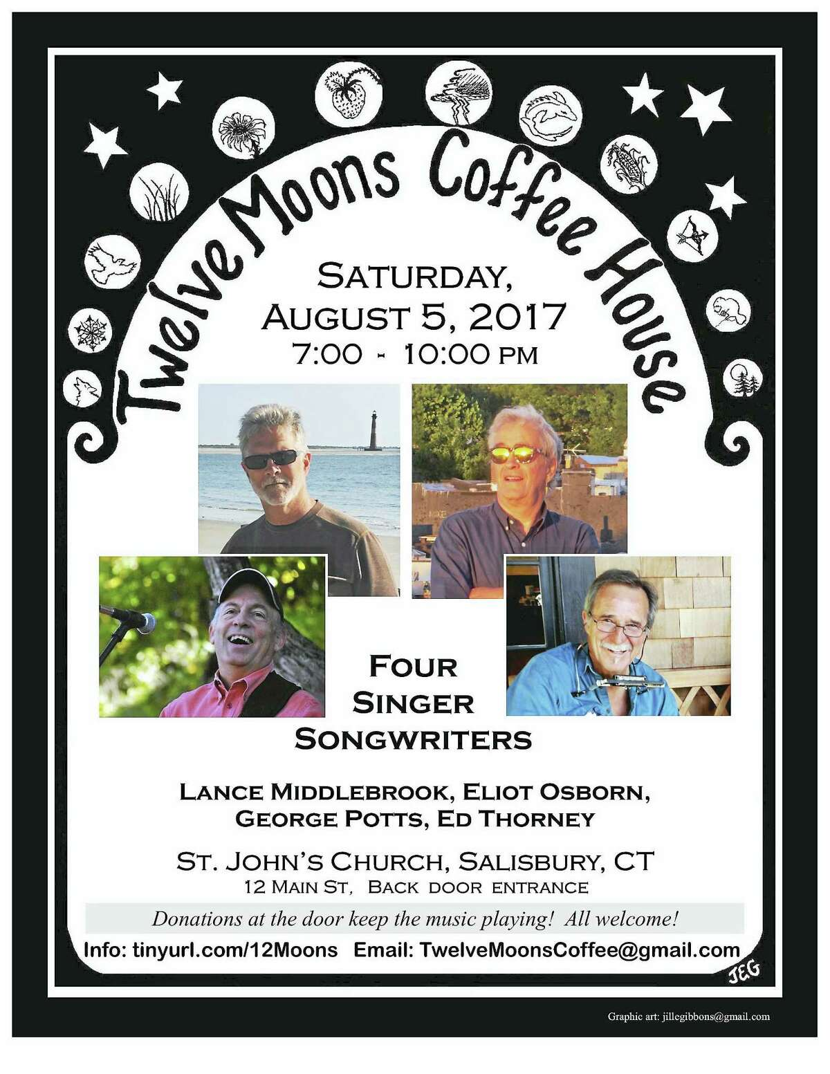 12 Moons Coffee House features four singer-songwriters on Aug. 6.