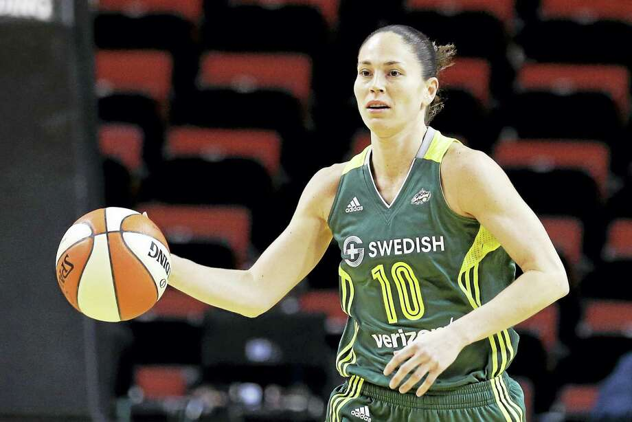 Associated Press file photo In this May 4, 2016, file photo, Seattle Storm's Sue Bird moves down court against the Phoenix Mercury in a WNBA preseason basketball game in Seattle. Bird said in an interview with ESPN that she was in a relationship with soccer star Megan Rapinoe. Photo: AP / Copyright 2016 The Associated Press. All rights reserved. This material may not be published, broadcast, rewritten or redistribu
