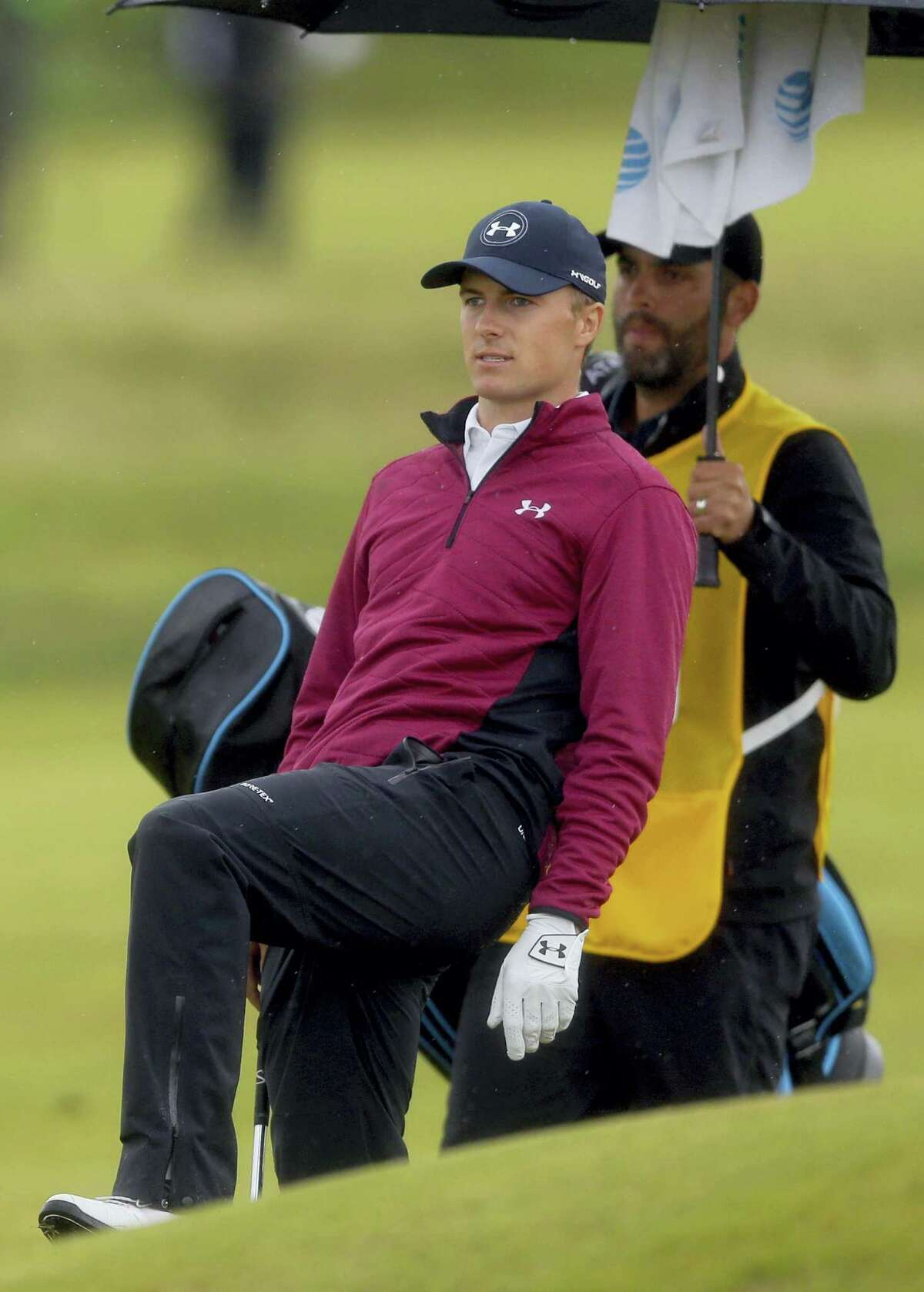 Jordan Spieth of the United States reacts after a shot on the 11th fairway during the second round of the British Open Golf Championship, at Royal Birkdale, Southport, England, Friday.