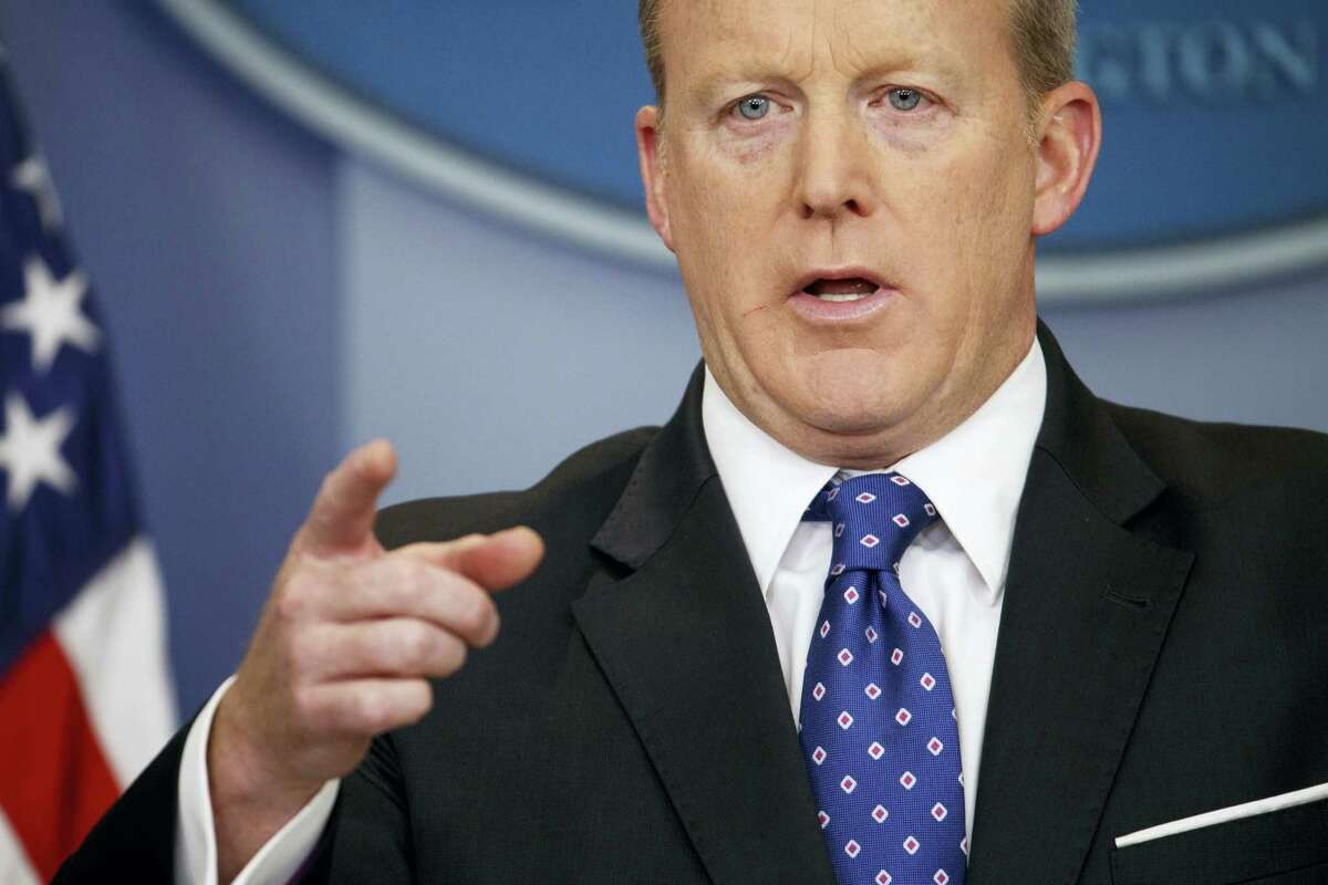 AP Photo/Evan Vucci, File In this May 9, 2017, file photo, White House press secretary Sean Spicer speaks during the daily press briefing at the White House in Washington. White House Press Secretary Sean Spicer has resigned over hiring of new communications aide.