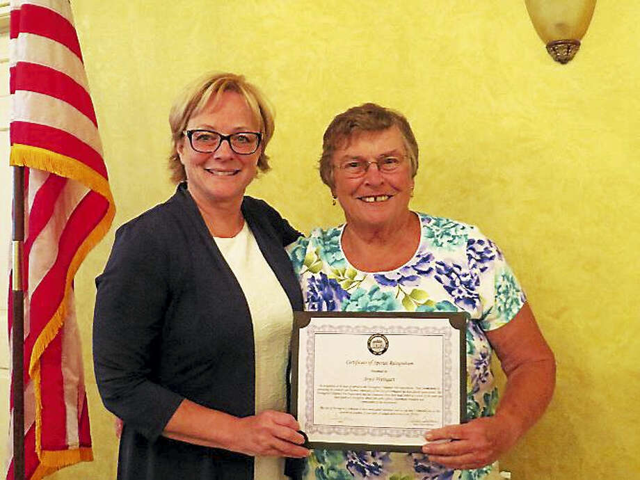 Congratulations to Joyce Weingart who has been with Torringford Volunteer Fire Department since May of 1977. She has put in 40 years of service to our department, as a driver, fire fighter, fire police, president and at present a commissioner of the board. Joyce has always been there for the department in all events whether it be a car show, tag sale, pasta supper whatever it might be she has given 100% plus to the department. We honored her at our Annual Dinner on Tuesday July 11th which was held at Chatterley's' Banquet Facility. Torrington Mayor Carbone presented her with a certificate of recognition. Photo: Digital First Media