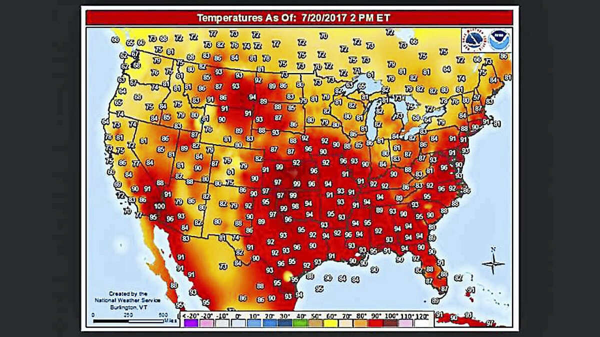 Thursday, July 20, 2017 was a typical July afternoon with 90+ heat being observed across much of the country. Connecticut will see 90-degree temperatures on Friday and Saturday before the third heat wave of the season comes to an end.