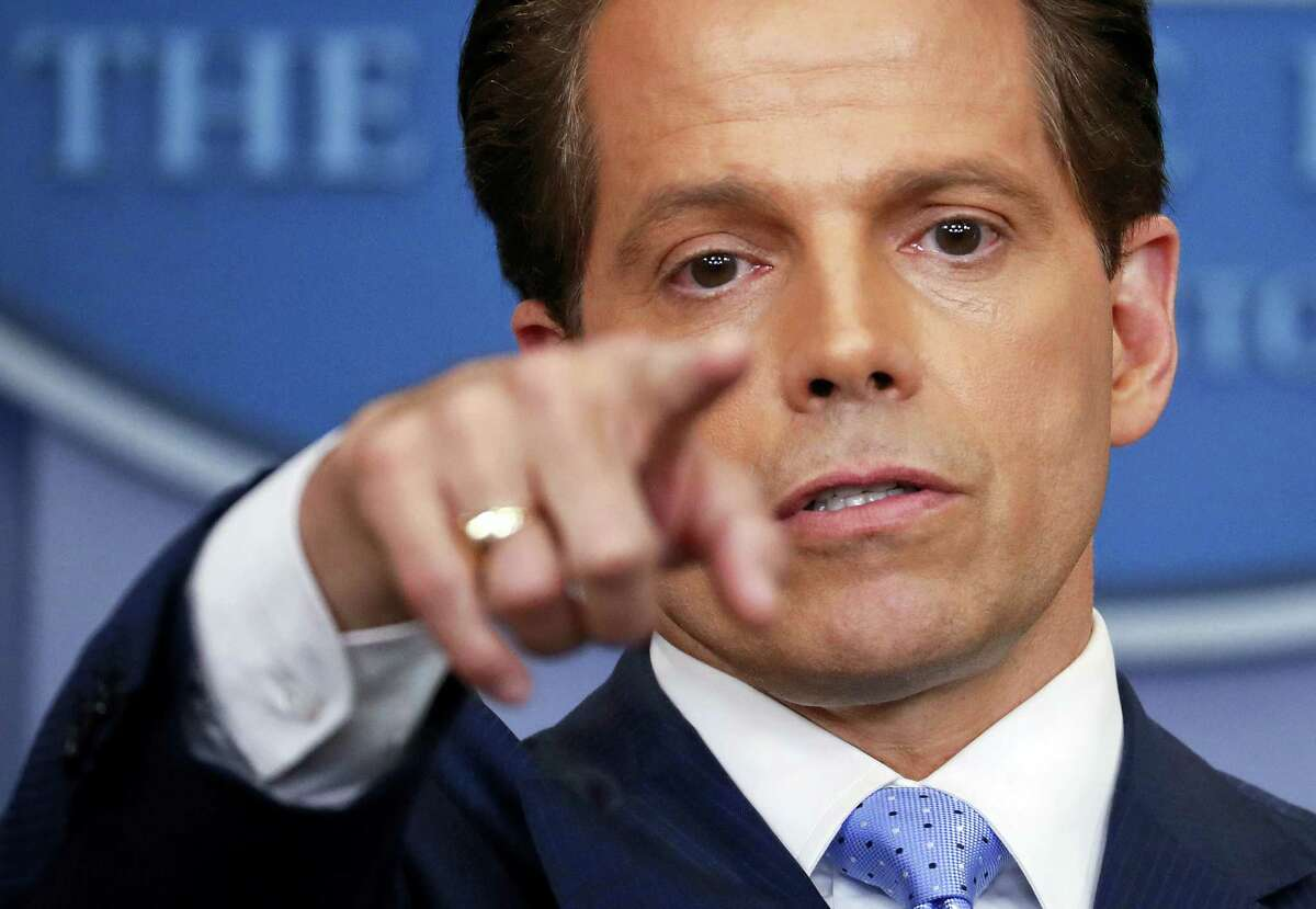 Incoming White House communications director Anthony Scaramucci points as he answers questions from members of the media during the press briefing in the Brady Press Briefing room of the White House in Washington, Friday, July 21, 2017.