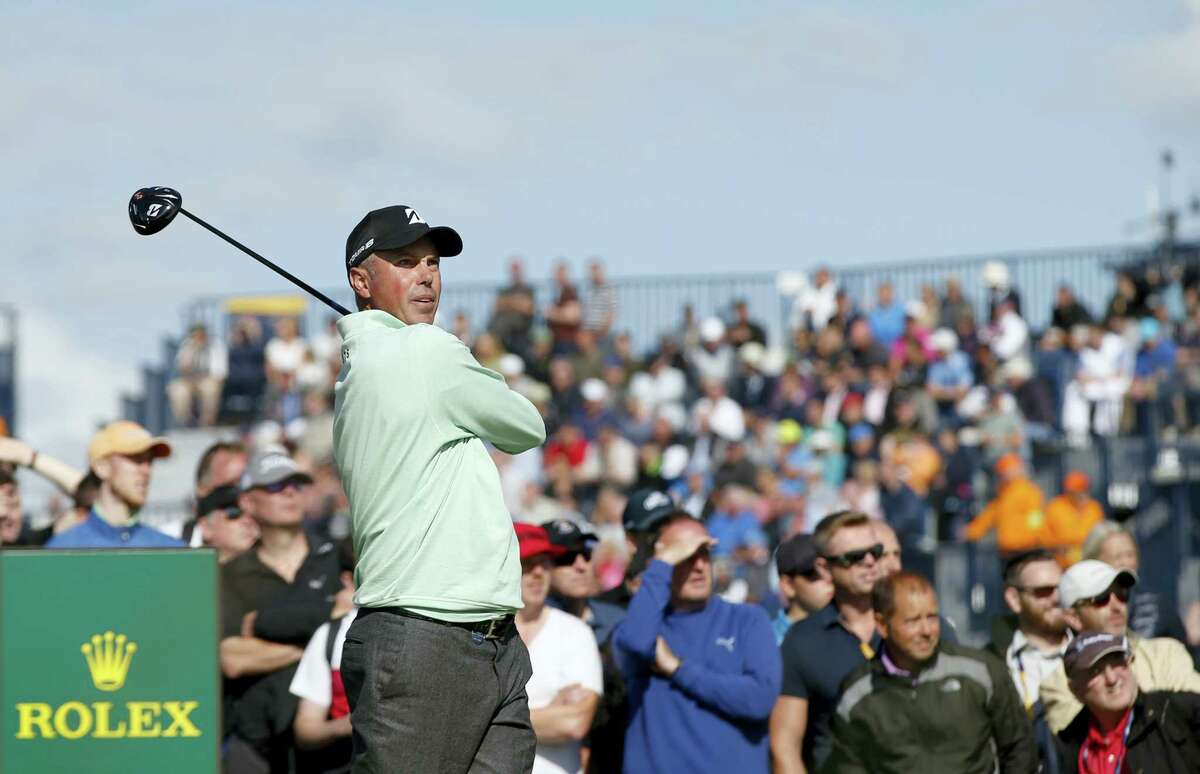 Matt Kuchar plays off the 15th tee during the first round of the British Open at Royal Birkdale in Southport, England on Thursday.