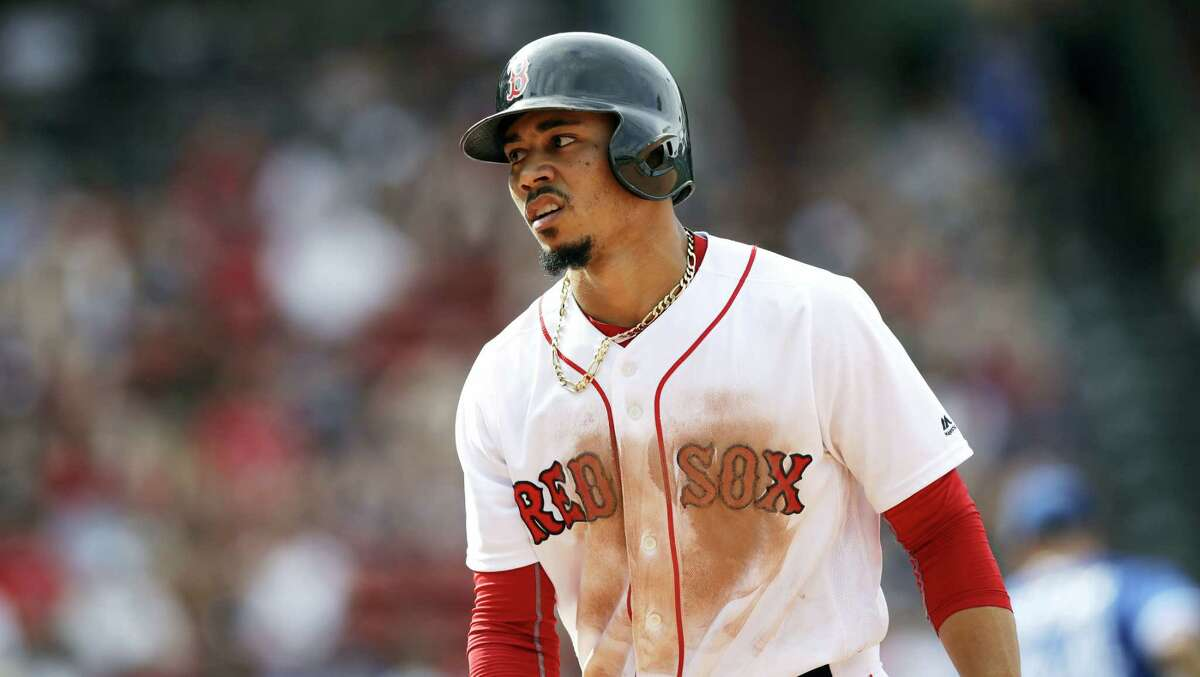 Mookie Betts looks on during the eighth inning against the Blue Jays on Thursday.