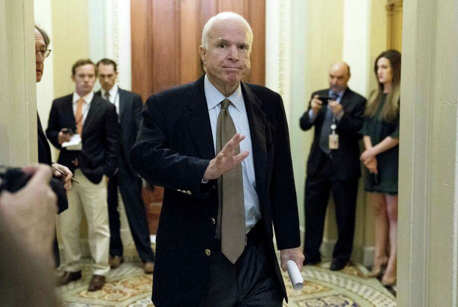 In this June 22, 2017 photo Sen. John McCain, R-Ariz., arrives for a Senate Republican meeting on a health reform bill on Capitol Hill in Washington. McCain has been diagnosed with a brain tumor after doctors removed a blood clot above his left eye last week, his office said in a statement July 19. Photo: AP Photo — Andrew Harnik, File  / Associated Press