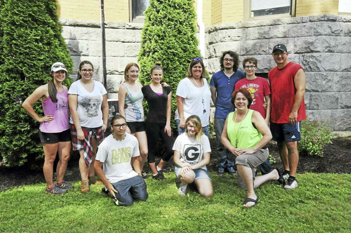 Explorations Charter School students have worked this week to beautify the school grounds in Winsted. Pictured above: Shannon Whitney, Mike Sanzaro, Cassie Ibitz, Melissa Zucca, Ash Nejaime, Molly Gallagher, Madisen Clapps, Sarah Buick, Kyle Peterson, and Colleen Renzullo.