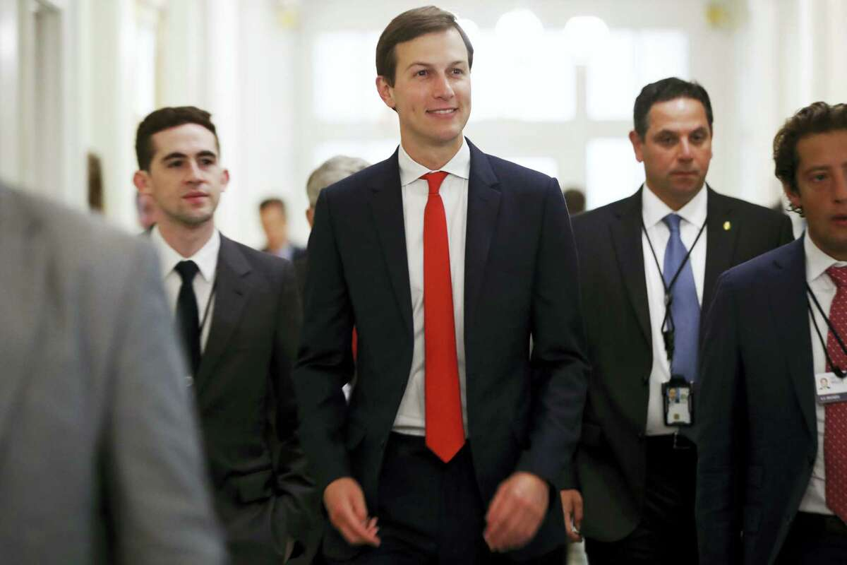 White House senior adviser Jared Kushner, center, arrives for the opening of the U.S.-China Comprehensive Economic Dialogue, Wednesday, July 19, 2017, at the Treasury Department in Washington.
