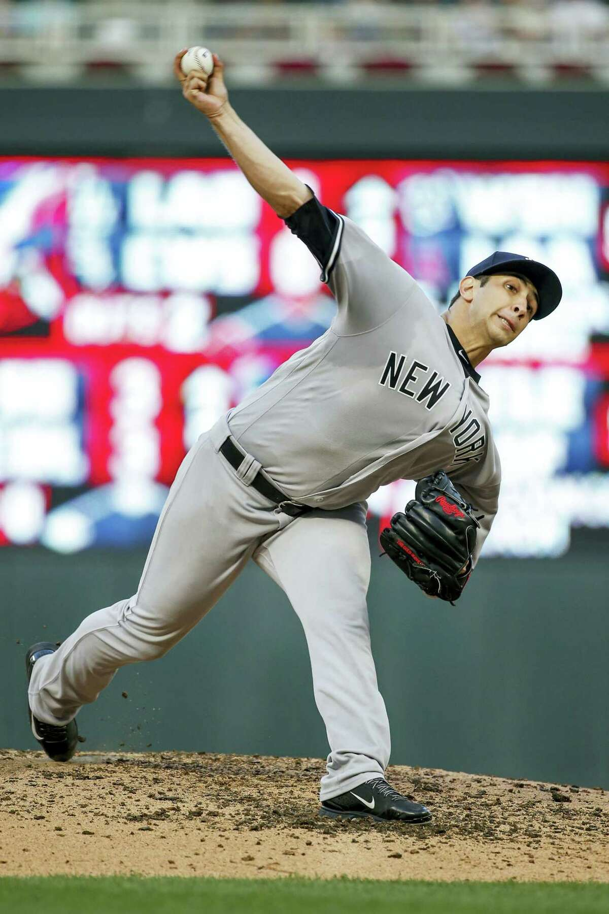 New York Yankees starting pitcher Luis Cessa throws to the Minnesota Twins in the third inning of a baseball game Tuesday, July 18, 2017, in Minneapolis.