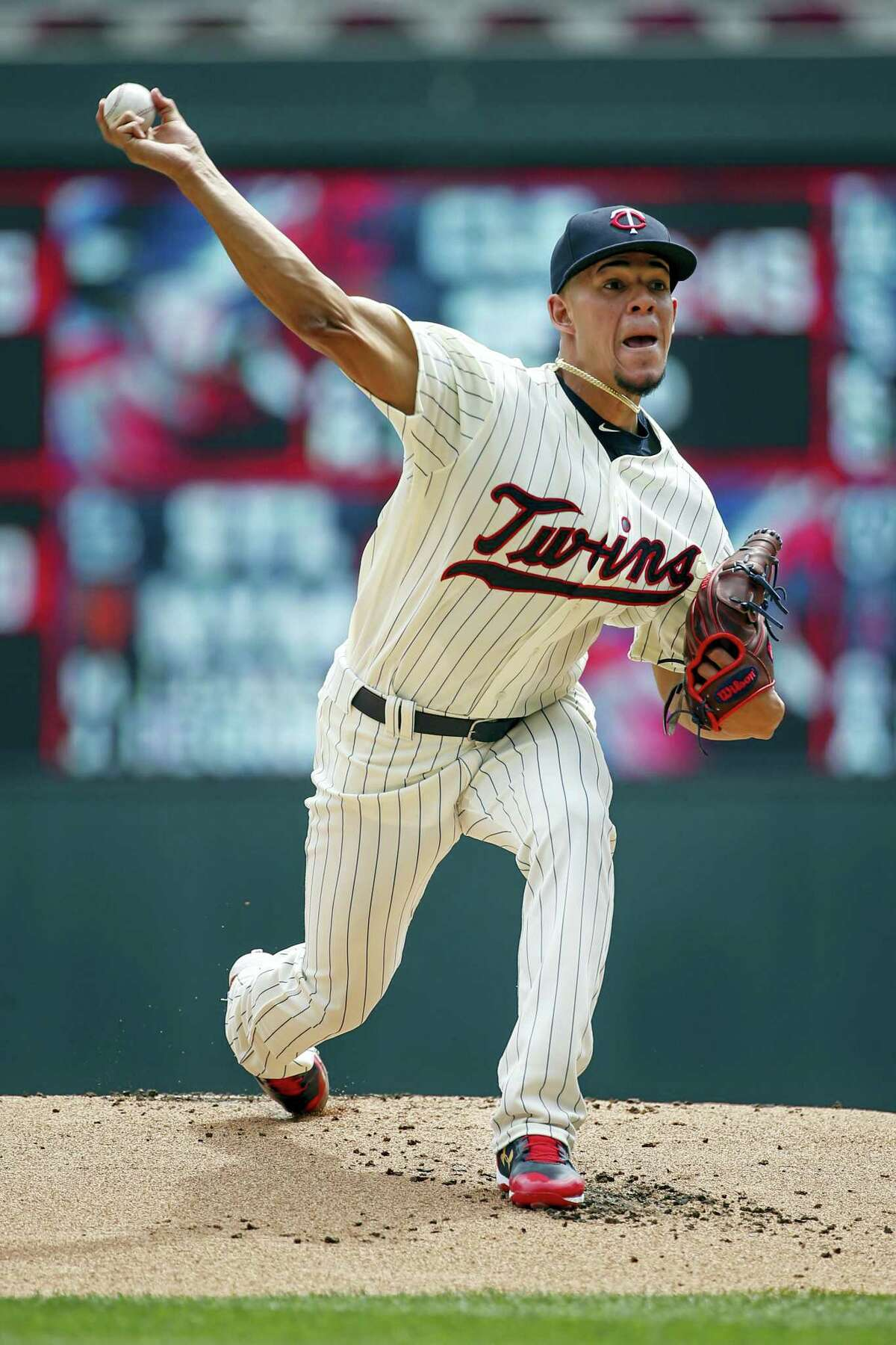 Minnesota Twins starting pitcher Jose Berrios throws to the New York Yankees in the first inning of a baseball game on Wednesday, in Minneapolis.