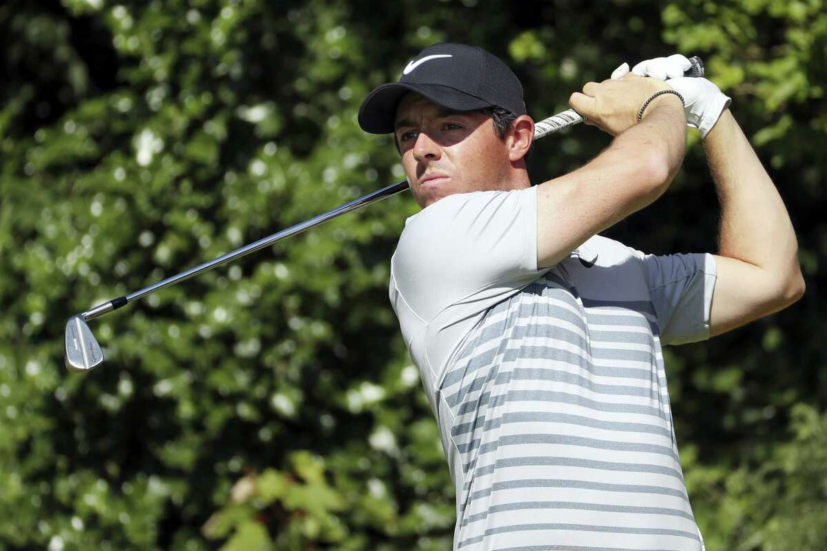 Northern Ireland's Rory McIlroy plays a shot from the 5th tee during a practice round ahead of the British Open Golf Championship, at Royal Birkdale, Southport, England on Tuesday.