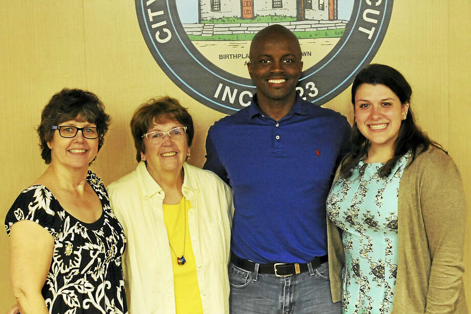 The Torrington Democrats endorsed candidates to run in the upcoming municipal election Wednesday. Above, endorsed candidates for City Council and the Board of Education are, from left, Ellen Hoehne, Sharon Waagner, Byron Francis and Danielle Palladino. Photo: Ben Lambert / Hearst Connecticut Media
